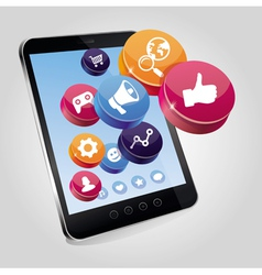 tablet pc with social media concept on touchscreen vector image