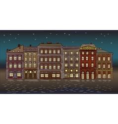 Antique European street Night Summer city landscap vector image