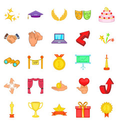 bonus icons set cartoon style vector image vector image