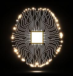 Neon brain Cpu Circuit board Abstract vector image vector image