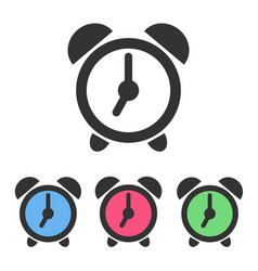 set of alarm clock icons with color clockfaces vector image vector image