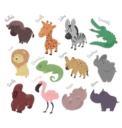 Set of cute cartoon animals Funny savannah vector image