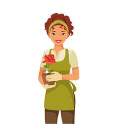 woman gardener vector image vector image