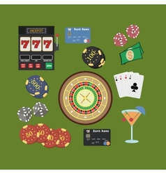 Casino flat icons set vector image vector image
