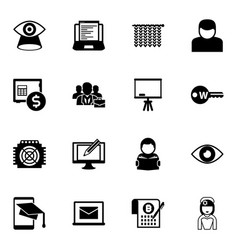 16 pictograph filled icons set isolated on white vector