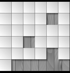 Abstract background with squares and wooden wall vector