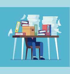 accounting documents piles unorganized office vector image