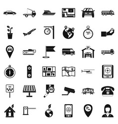 Air navigation icons set simple style vector