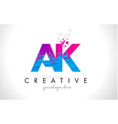 Ak a k letter logo with shattered broken blue vector