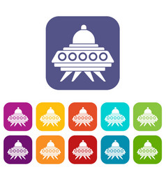 Alien spaceship icons set vector