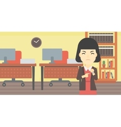 Angry business woman pointing at wrist watch vector