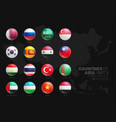 asian countries flags 3d glossy round icons set vector image