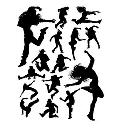 attractive modern dancer silhouettes vector image