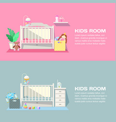 bagirl and boy rooms modern interior vector image