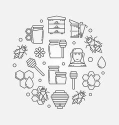 beekeeping outline circular vector image