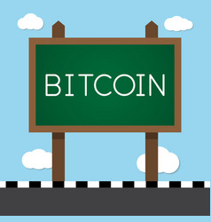 bitcoin with wooden sign board vector image