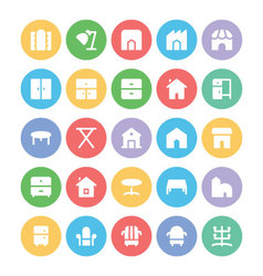 Building and Furniture Icons 14 vector image