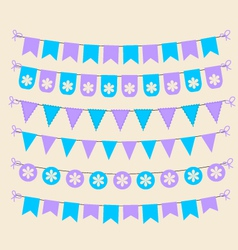 Bunting set patel purple and blue scrapbook design vector image