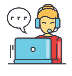 call center worker woman in headset using laptop vector image
