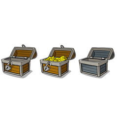 Cartoon open treasure chest with gold coins set vector