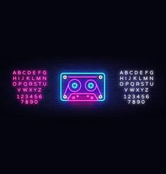 Cassetts for tape recorder neon sign retro vector