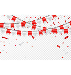 celebration party banner red and silver foil vector image