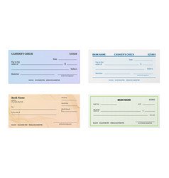 check template blank bank cheque with guilloche vector image