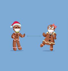 Christmas gingerbread people social distancing vector