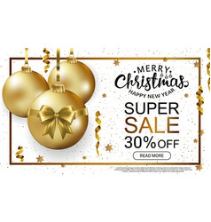 christmas sale horizontal banner template vector image