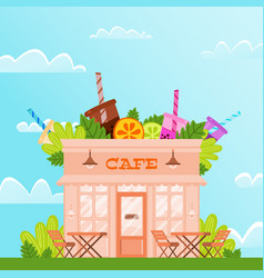 City cafe against blue sky and white clouds on vector