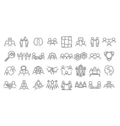 Collaboration icons set outline style vector