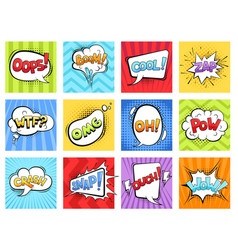 Comic sounds cartoon explode stripped burst vector
