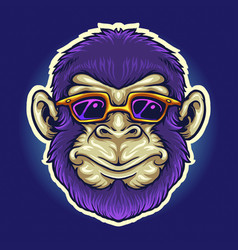 cool monkey head sunglasses vector image