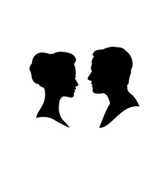 couple faces silhouette couple facing each other vector image