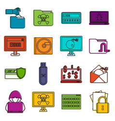 criminal activity icons doodle set vector image