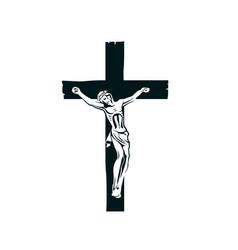 crucifixion jesus on cross vector image