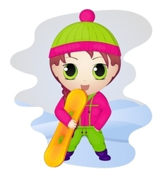 Cute anime chibi little girl with snowboard vector image