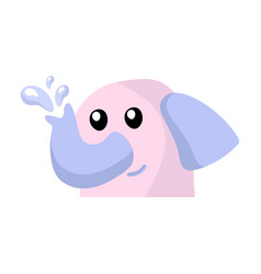 cute little pink elephant in flat cartoon style vector image