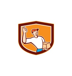 Delivery Man Okay Sign Shield Cartoon vector