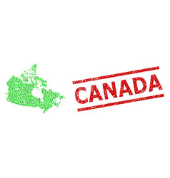 Distress canada stamp imitation and green people vector