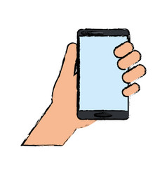 drawing hand holds smartphone device technology vector image