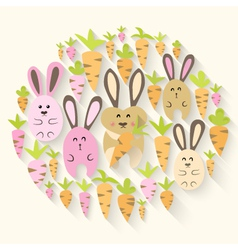 Easter pink rabbits and carrots icon set vector