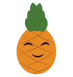 Emoji cartoon smiling pineapple or color vector
