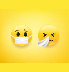 Emoji set virus prevention concept vector