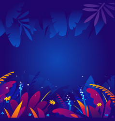 Exotic tropical plants in night background vector