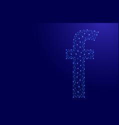 F letter latin small from futuristic polygonal vector