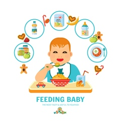 Feeding Baby Pictorial Guide Flat Poster vector