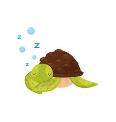 Flat icon of cute sleeping turtle marine vector