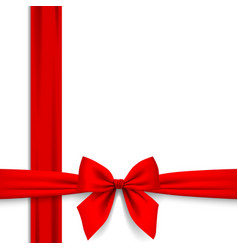 frame of red ribbon and bow isolated on white vector image