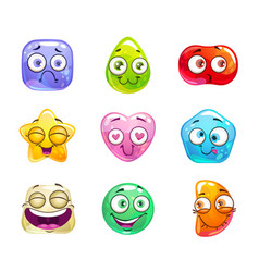 Funny cartoon candy characters vector